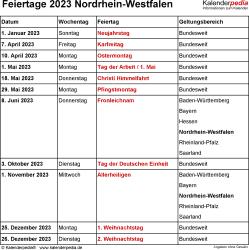 Feiertage NRW 2023 als Excel-, Word- & PDF-Dateien