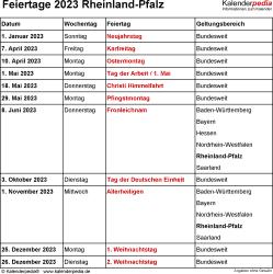 Feiertage Rheinland-Pfalz 2023 als Excel-, Word- & PDF-Dateien