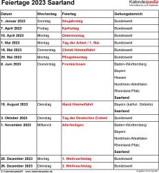 Feiertage Saarland 2023 als Excel-, Word- & PDF-Dateien