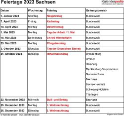 Feiertage Sachsen 2023 als Excel-, Word- & PDF-Dateien