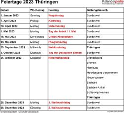 Feiertage Thüringen 2023 als Excel-, Word- & PDF-Dateien