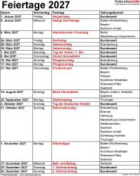 Feiertage 2027 als Excel-, Word- & PDF-Vorlagen zum Download und Ausdrucken
