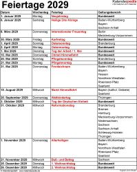 Feiertage 2029 als Excel-, Word- & PDF-Vorlagen zum Download und Ausdrucken