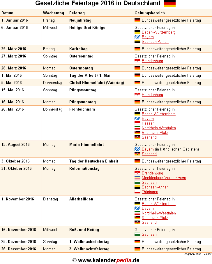 Feiertage 2016 in Deutschland mit druckbaren Vorlagen