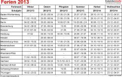 Ferien 2013 als Excel-, Word- & PDF-Dateien