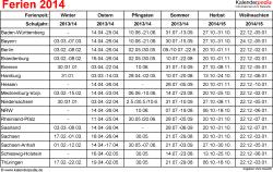 Ferien 2014 als Excel-, Word- & PDF-Dateien