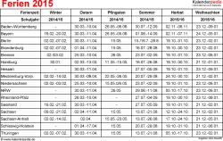 Ferien 2015 als Excel-, Word- & PDF-Dateien