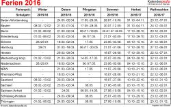 Ferien 2016 als Excel-, Word- & PDF-Dateien