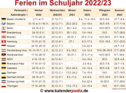 Ferien im Schuljahr 2022/23