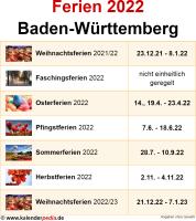 Ferien 2022 Baden-Württemberg
