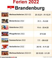 Ferien 2022 Brandenburg