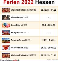 Ferien 2022 Hessen
