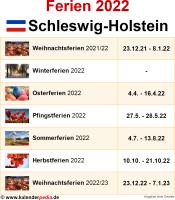 Ferien 2022 Schleswig-Holstein