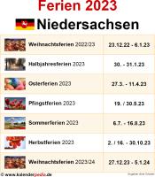 Ferien 2023 Niedersachsen