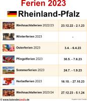 Ferien 2023 Rheinland-Pfalz