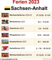 Ferien 2023 Sachsen-Anhalt