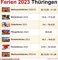 Ferien 2023 Thüringen