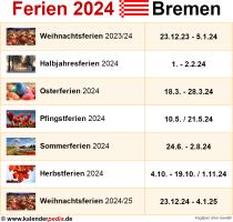 Ferien 2024 Bremen
