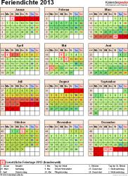 Feriendichte 2013 als Excel-, Word- & PDF-Vorlagen zum Download und Ausdrucken