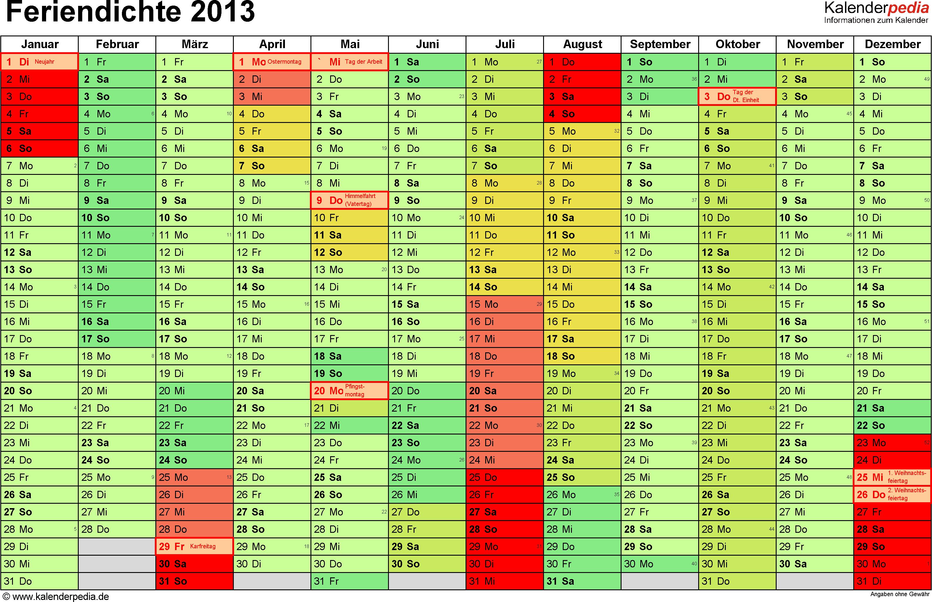 Feriendichte 2013 als Excel- & PDF-Vorlagen zum Download und Ausdrucken