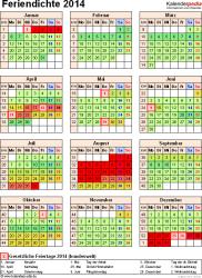 Feriendichte 2014 als Excel-, Word- & PDF-Vorlagen zum Download und Ausdrucken