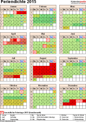 Feriendichte 2015 als Excel-, Word- & PDF-Vorlagen zum Download und Ausdrucken