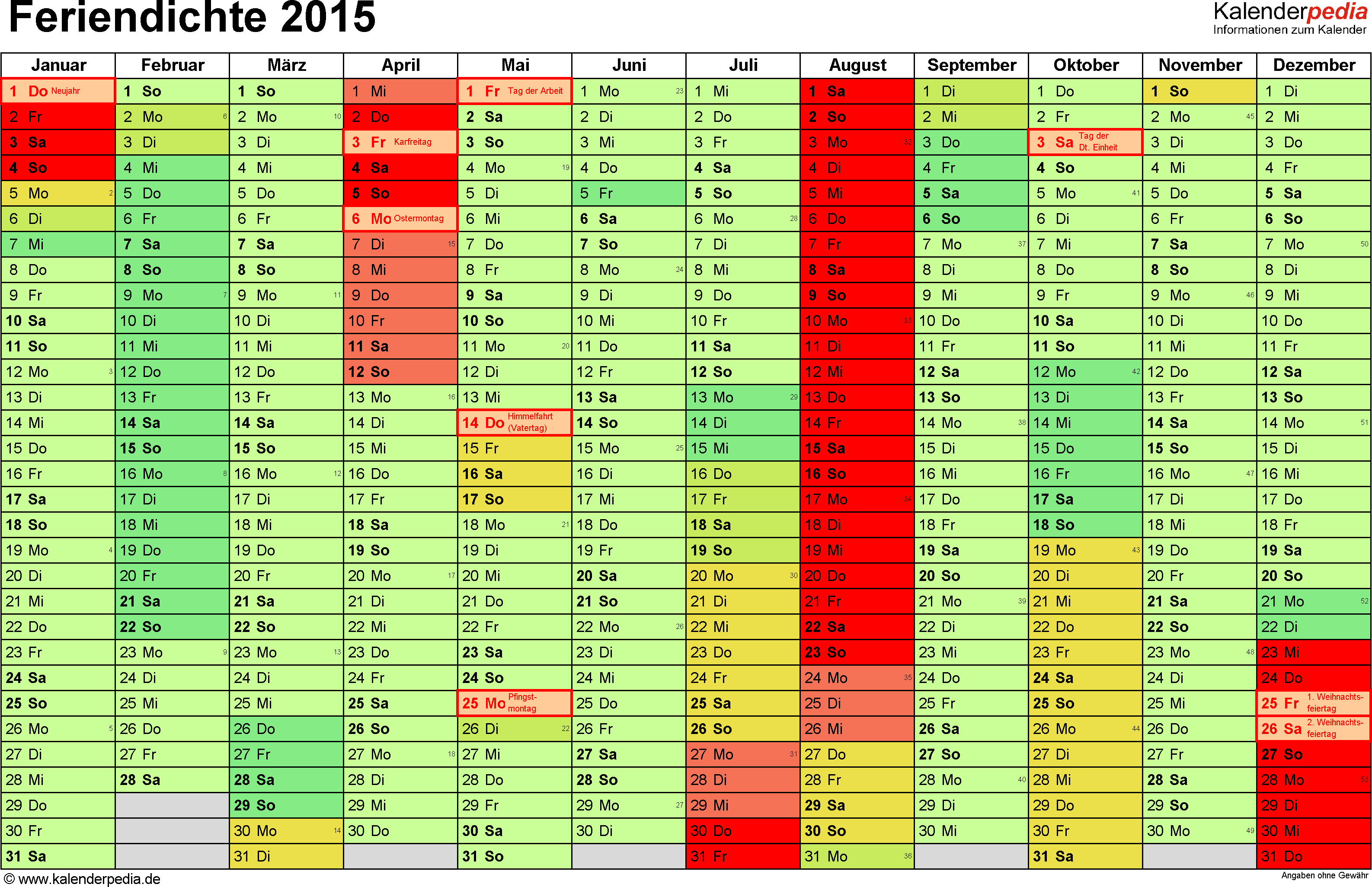 Feriendichte 2015 als Excel- & PDF-Vorlagen zum Download und Ausdrucken