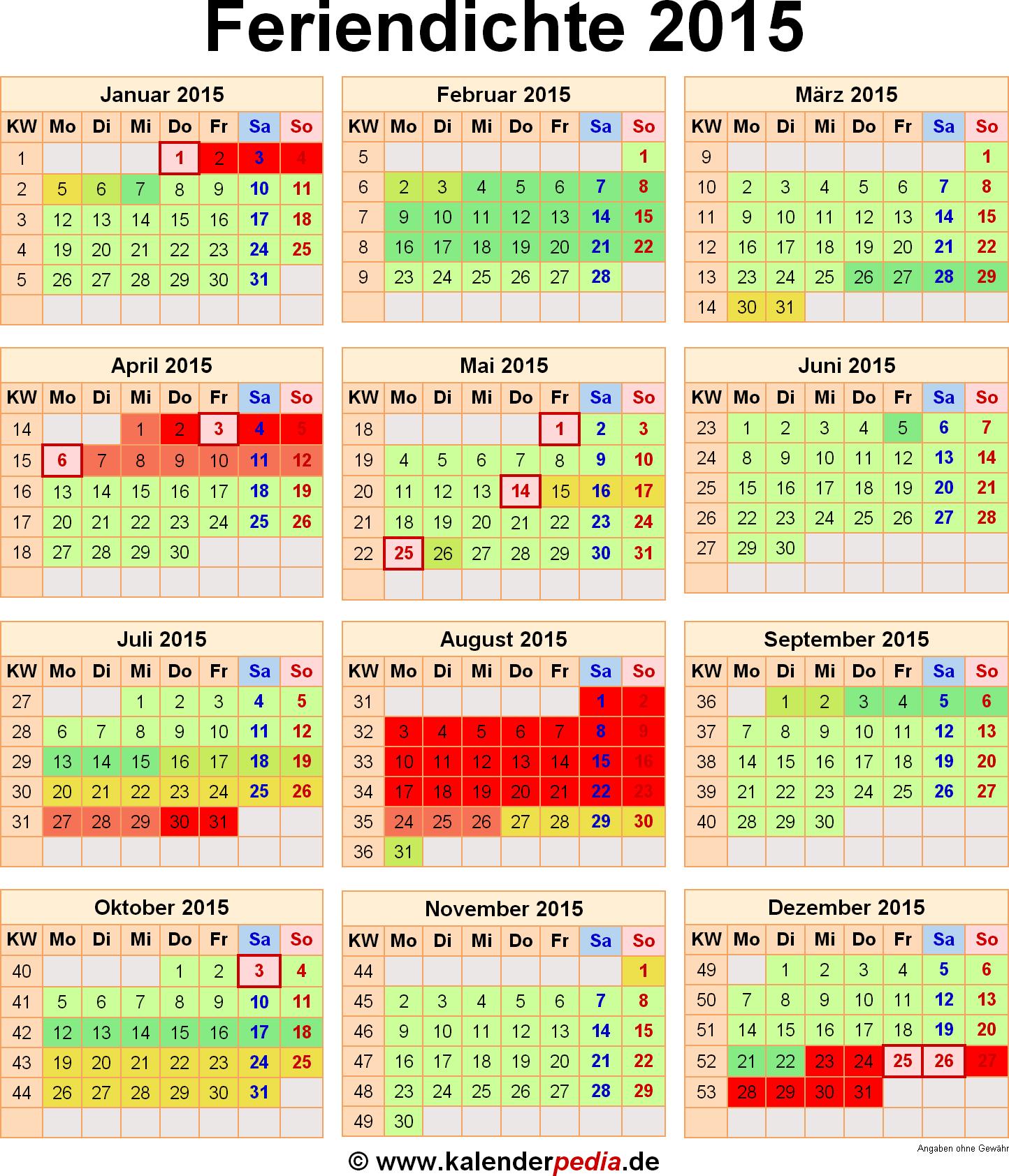 Feriendichte 2015