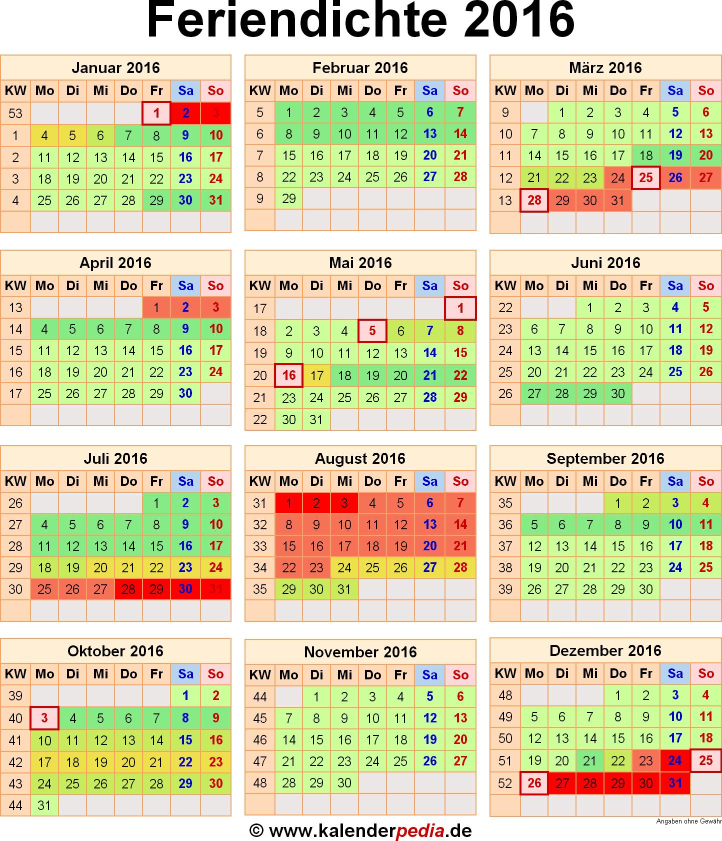 Feriendichte 2016