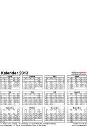 Vorlage 4: Excel-Vorlagen für Fotokalender 2013 (ganzes Jahr auf einer Seite)