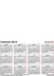Vorlage 4: Excel-Vorlagen für Fotokalender 2014 (ganzes Jahr auf einer Seite)