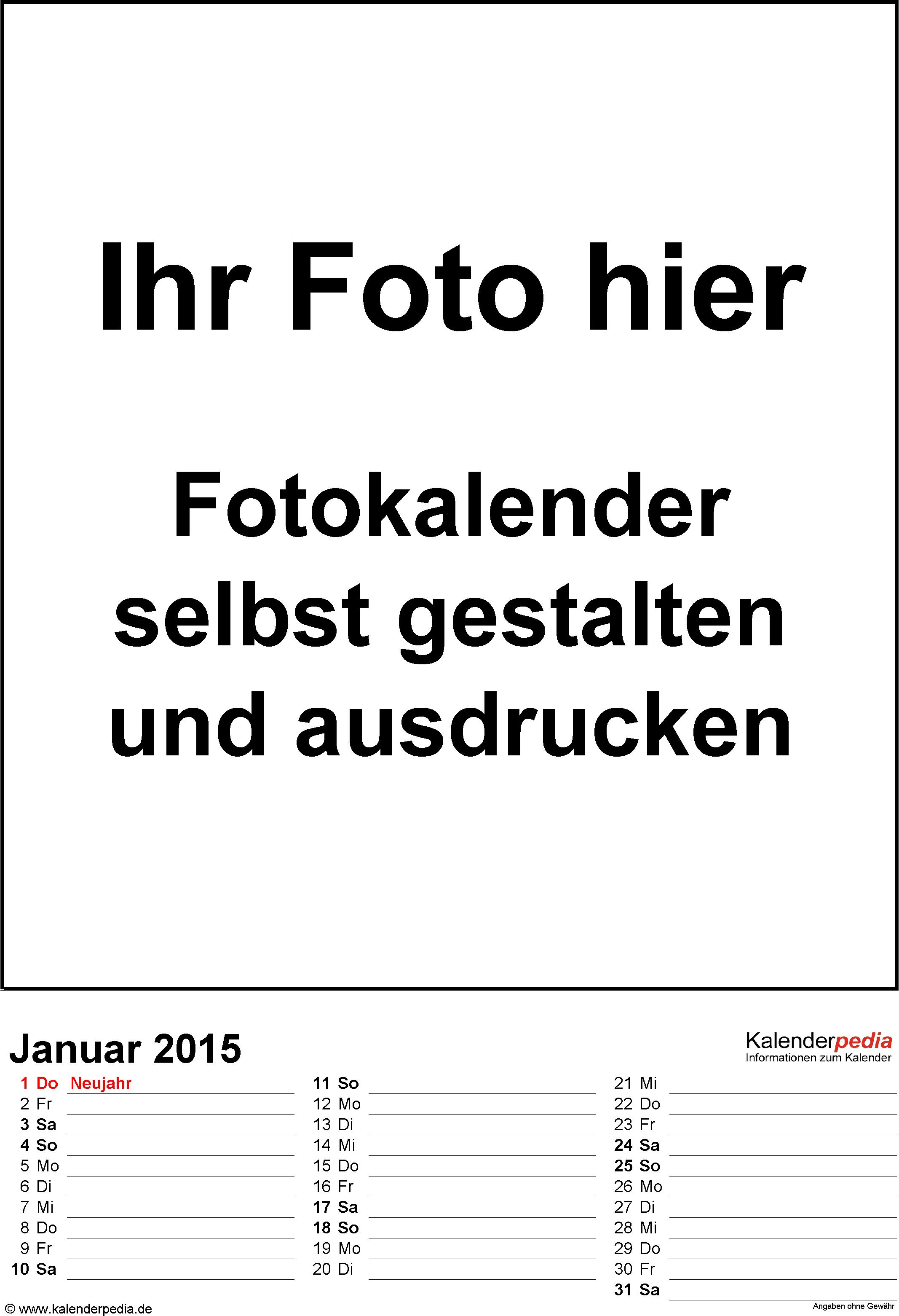 Vorlage 3: Word-Vorlage für Fotokalender 2015 (dreispaltig)