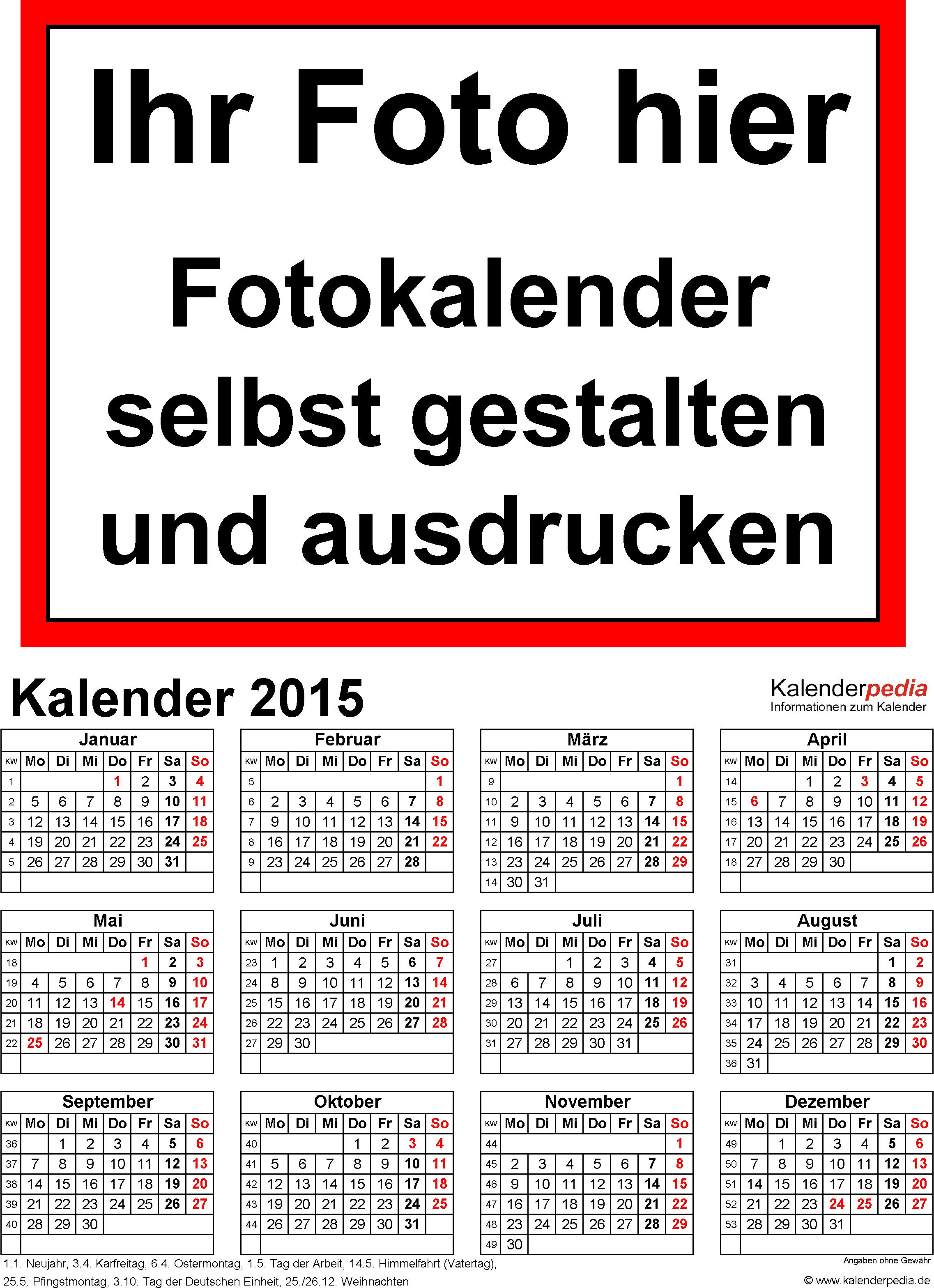 Vorlage 4: Excel-Vorlagen für Fotokalender 2015 (ganzes Jahr auf einer Seite)