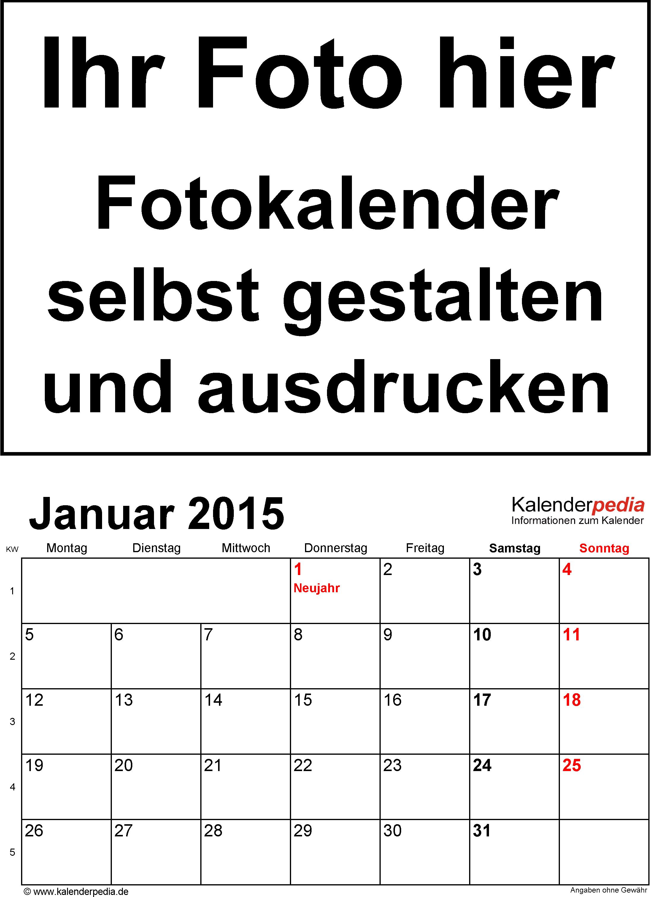 Vorlage 1: Word-Vorlage für Fotokalender 2015 (Hochformat, 12 Seiten)