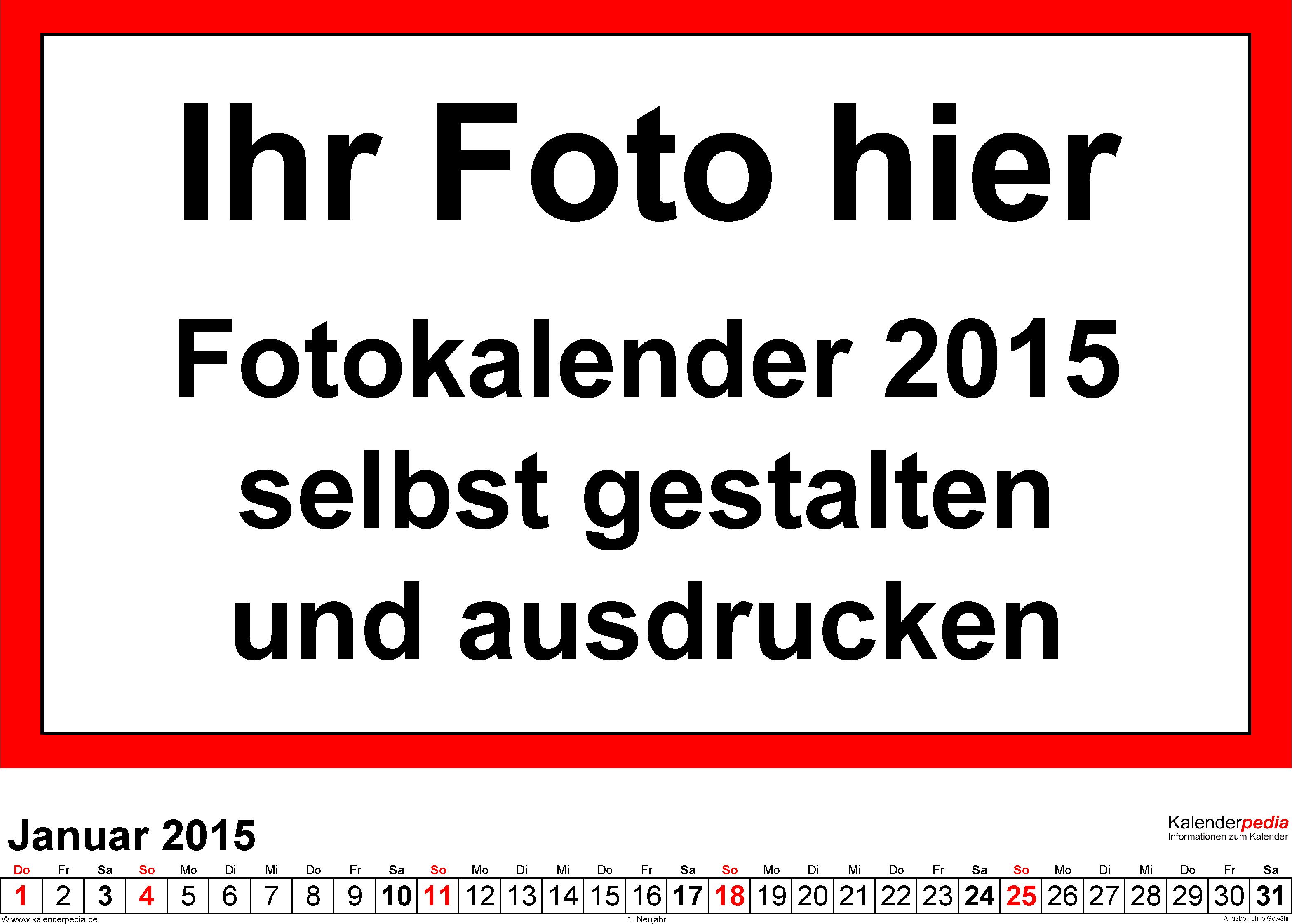 Vorlage 5: Excel-Vorlage für Fotokalender 2015 (Querformat)