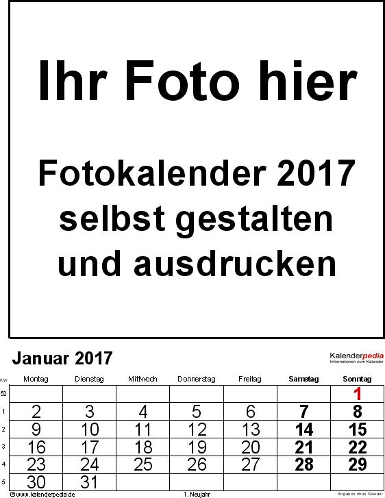 Vorlage 2: Excel-Vorlage für Fotokalender 2017 (mit grossen Ziffern)