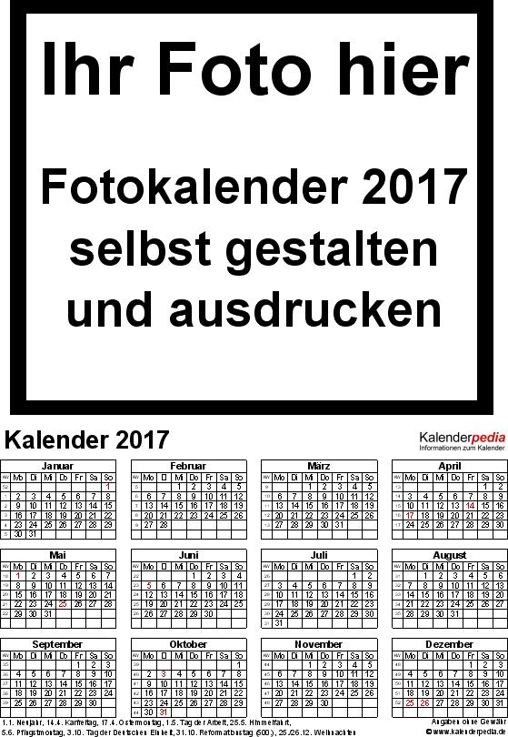 Vorlage 4: Excel-Vorlagen für Fotokalender 2017 (ganzes Jahr auf einer Seite)