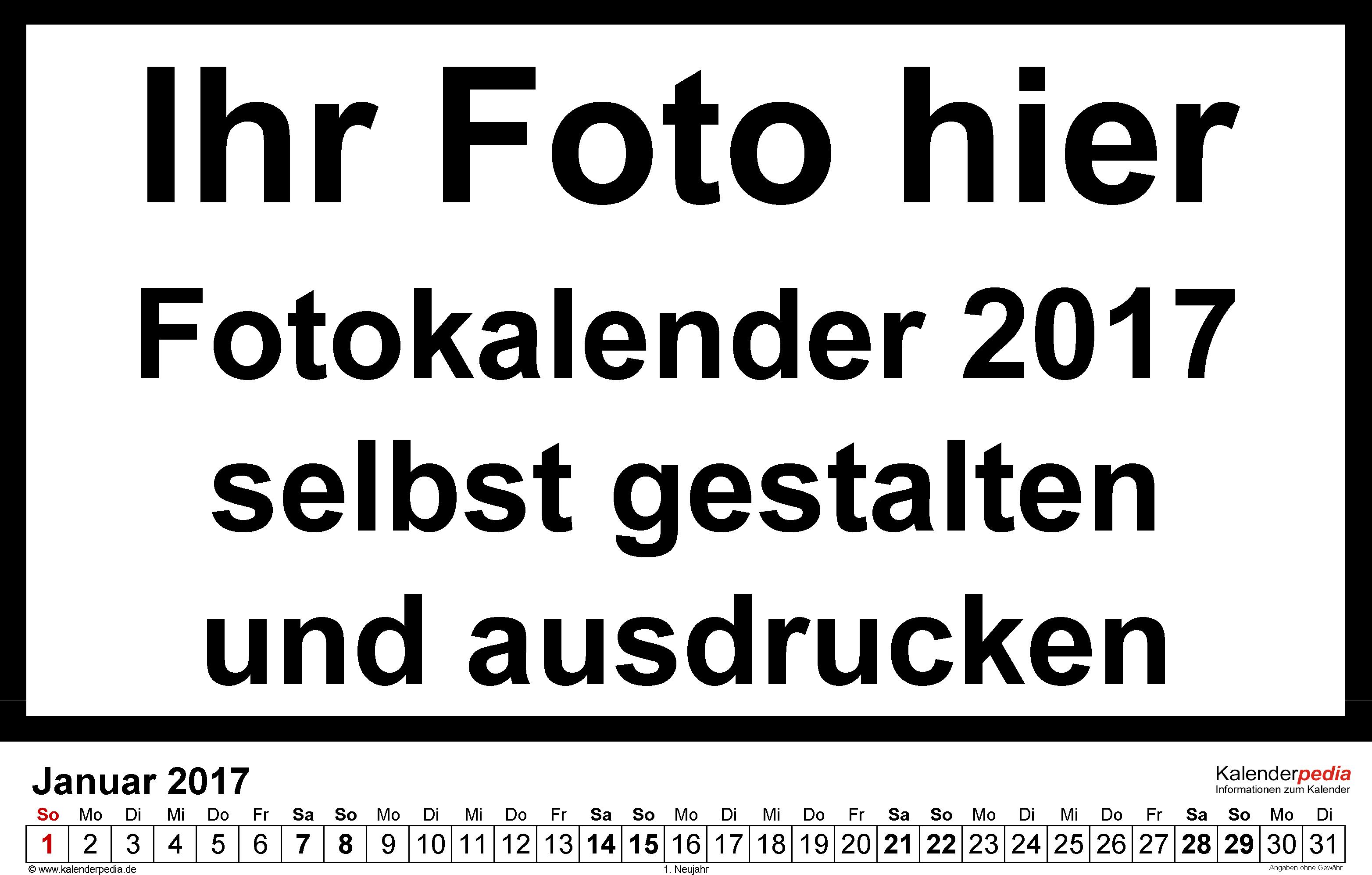 Vorlage 5: Word-Vorlage für Fotokalender 2017 (Querformat)