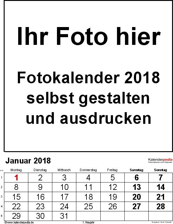 Vorlage 2: PDF-Vorlage für Fotokalender 2018 (mit grossen Ziffern)