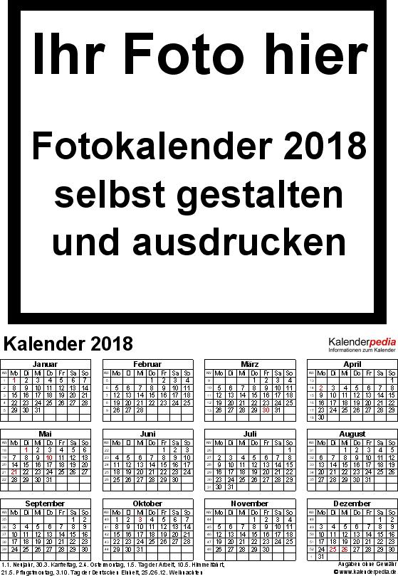 Vorlage 4: PDF-Vorlagen für Fotokalender 2018 (ganzes Jahr auf einer Seite)