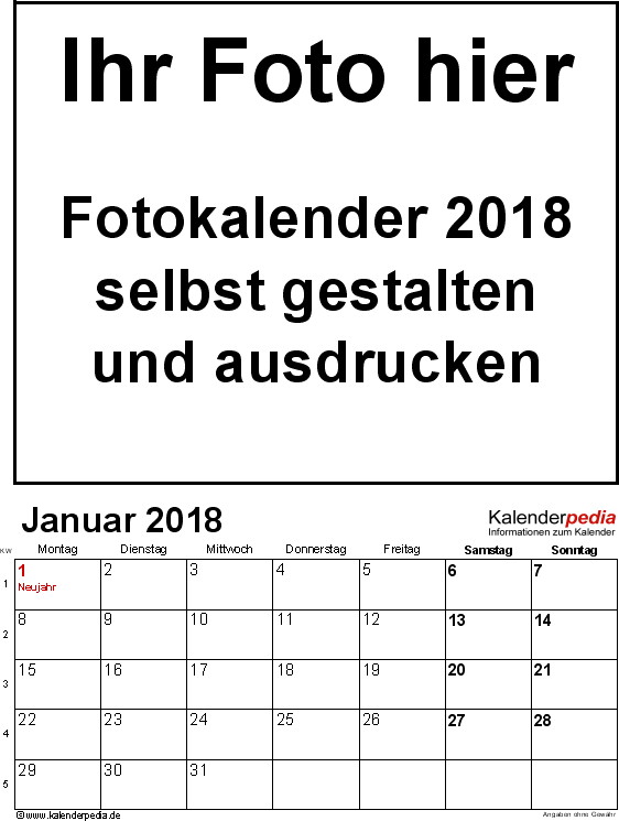 Vorlage 1: PDF-Vorlage für Fotokalender 2018 (Hochformat, 12 Seiten)