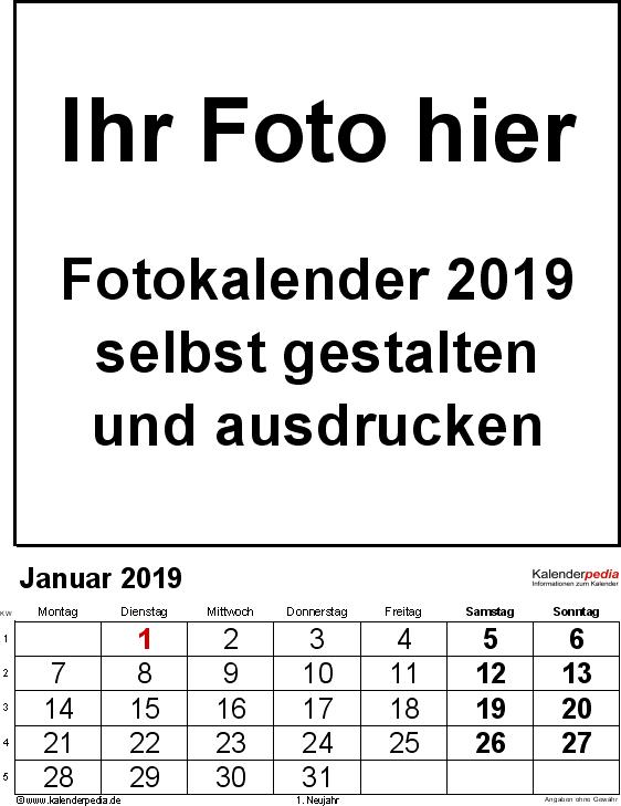 Vorlage 2: Excel-Vorlage für Fotokalender 2019 (mit grossen Ziffern)