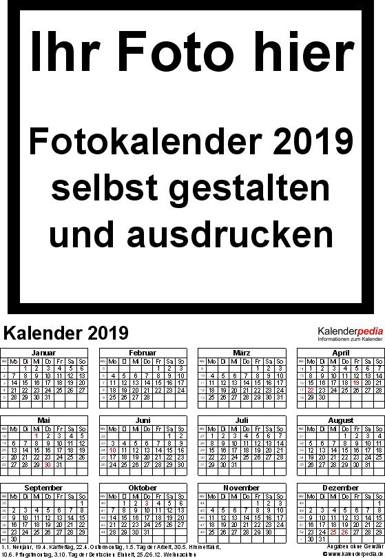 Vorlage 4: Excel-Vorlagen für Fotokalender 2019 (ganzes Jahr auf einer Seite)
