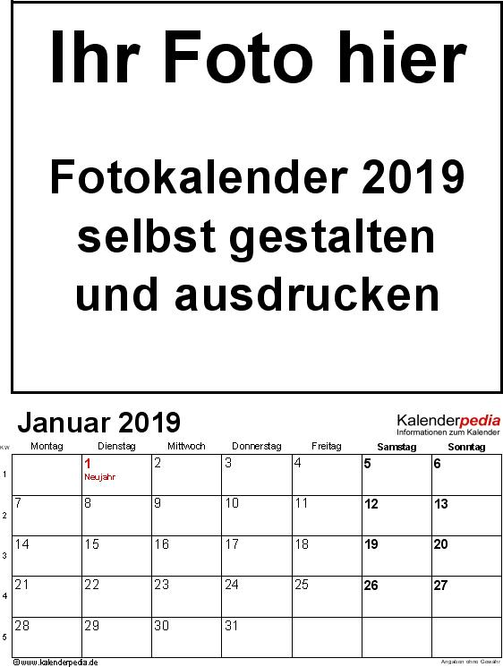 Vorlage 1: Excel-Vorlage für Fotokalender 2019 (Hochformat, 12 Seiten)