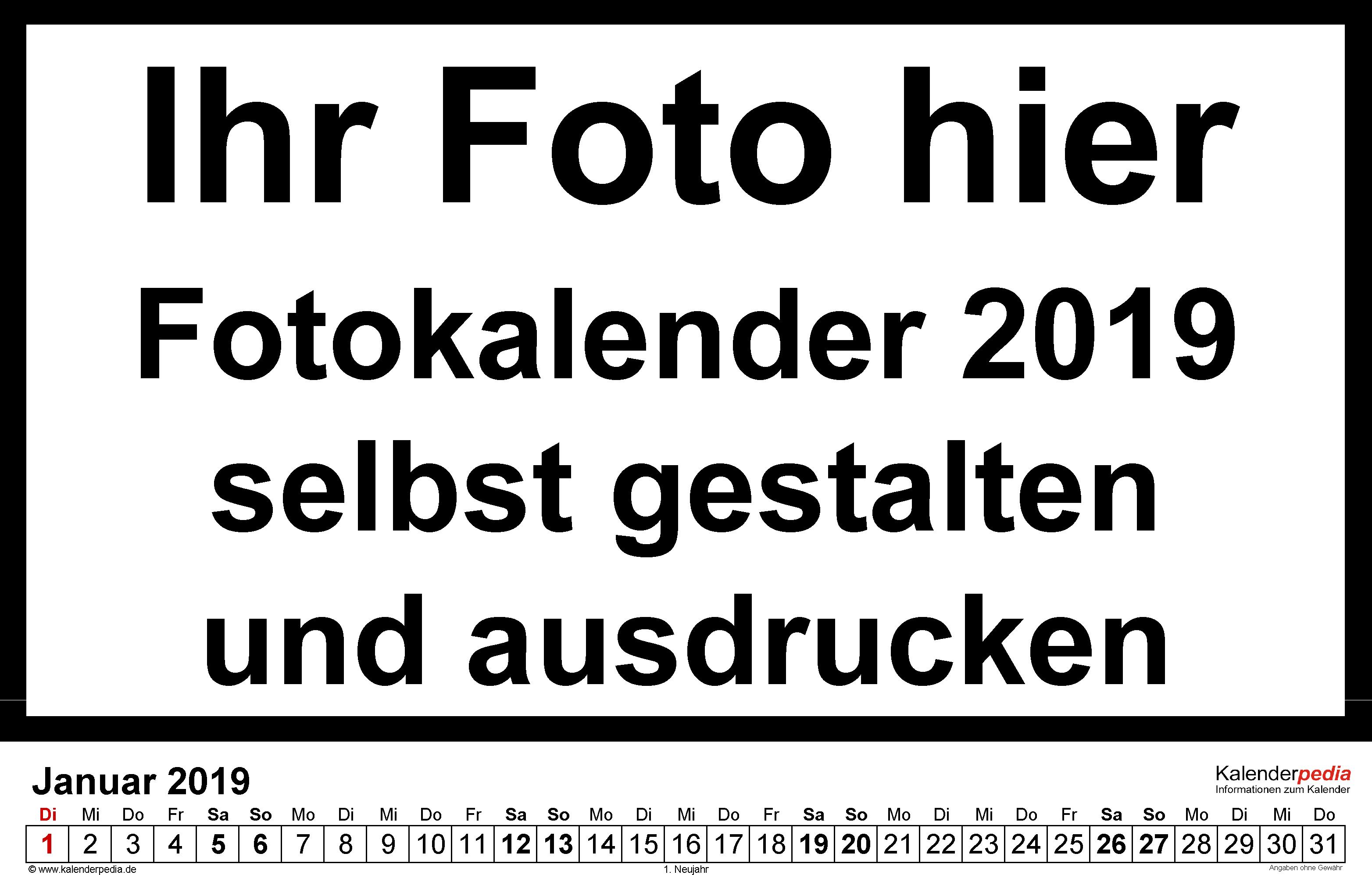 Vorlage 5: Excel-Vorlage für Fotokalender 2019 (Querformat)