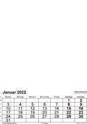 Vorlage 2: Excel-Vorlage für Fotokalender 2022 (mit grossen Ziffern)