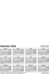Vorlage 4: Excel-Vorlagen für Fotokalender 2022 (ganzes Jahr auf einer Seite)