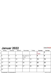 Vorlage 1: Excel-Vorlage für Fotokalender 2022 (Hochformat, 12 Seiten)