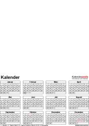 Vorlage 4: Excel-Vorlagen für Ewiger Fotokalender (ganzes Jahr auf einer Seite)