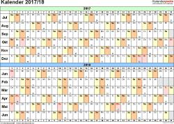 PDF-Vorlage für Halbjahr-Kalender 2017/2018 (Querformat, 1 Seite, Tage waagerecht (linear))
